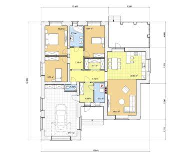 Проект одноэтажного дома, 176,12 м2