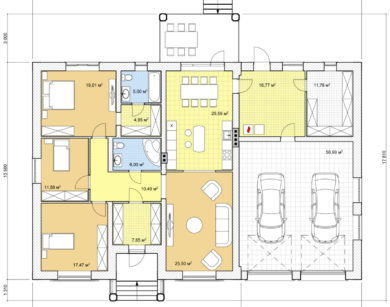 Проект одноэтажного дома, 218,98м2