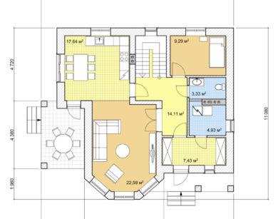 Проект дома с мансардой, 147,12м2