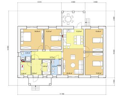 Проект одноэтажного дома, 132,40м2
