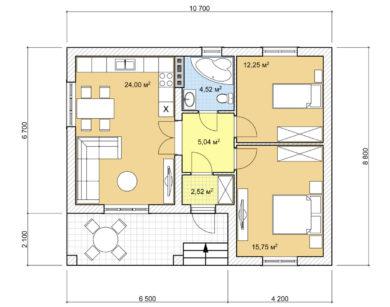 Проект одноэтажного дома, 64,08м2