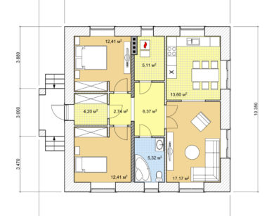 Проект одноэтажного дома, 79,32м2