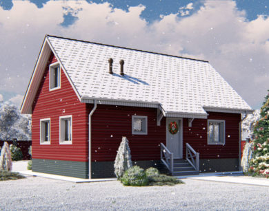 Проект дома с мансардой, 91,34м2
