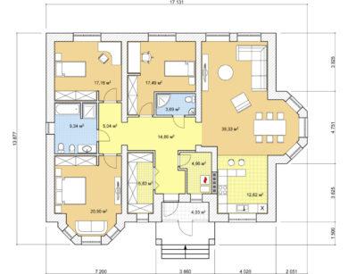 Проект одноэтажного дома, 155,26м2