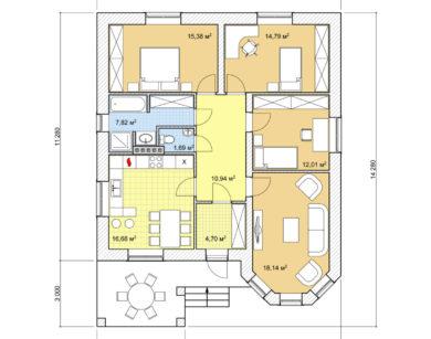 Проект одноэтажного дома, 102,15м2