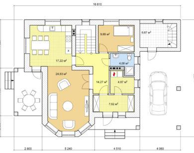 Проект дома с мансардой, 155,51м2