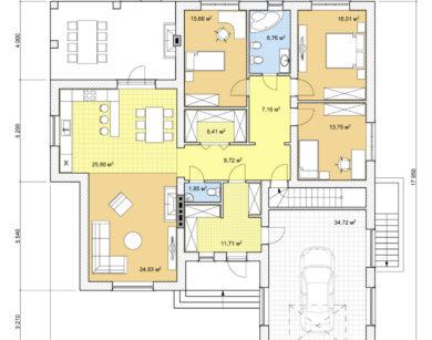 Проект одноэтажного дома, 173,49м2