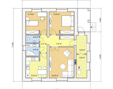 Проект одноэтажного дома, 90,17 м2