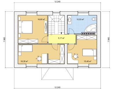 Проект двухэтажного дома, 137,83м2