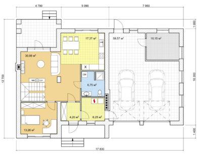 Проект дома с мансардой, 230,58м2