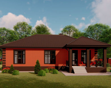 Проект одноэтажного дома, 123,61м2