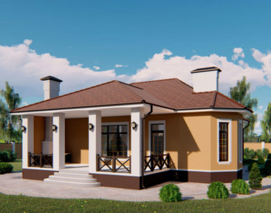 Проект одноэтажного дома, 150,56м2