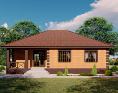 Проект одноэтажного дома, 117,83м2