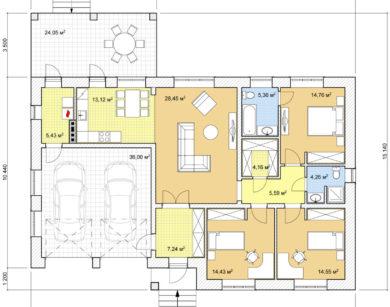 Проект одноэтажного дома, 153,33м2