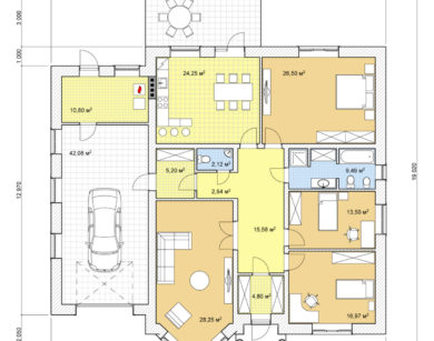 Проект одноэтажного дома, 194,59м2