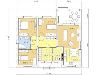 Проект одноэтажного дома, 107,411м2