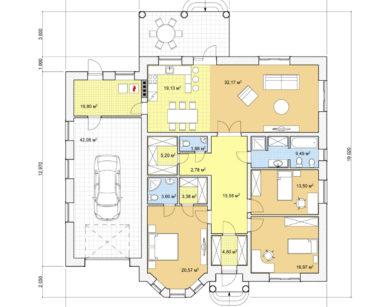 Проект одноэтажного дома, 201,93м2