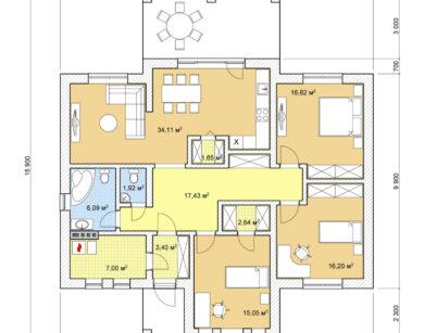Проект одноэтажного дома, 122,12м2