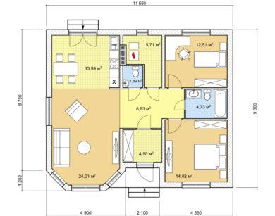 Проект одноэтажного дома, 91,2м2