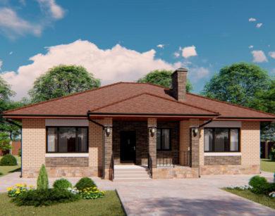Проект одноэтажного дома, 130,71м2