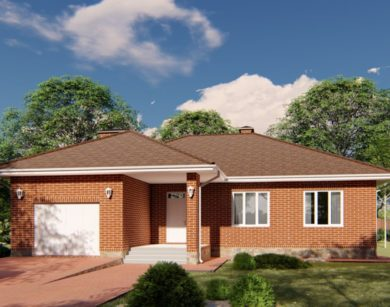 Проект одноэтажного дома, 164,23м2