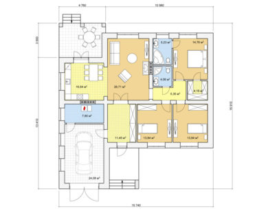 Проект одноэтажного дома, 147,91м2