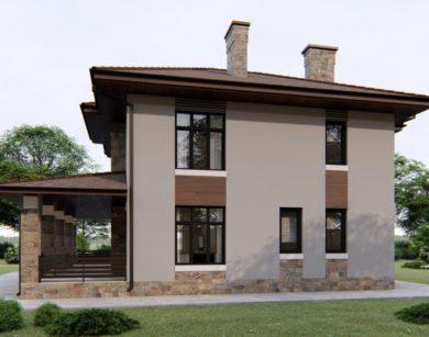 Проект двухэтажного дома, 158,17м2