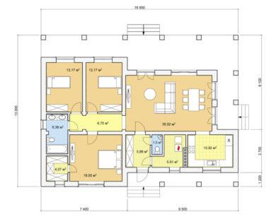 Проект одноэтажного дома, 121,31м2