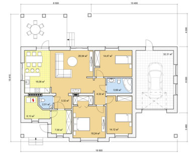 Проект одноэтажного дома, 151,10м2