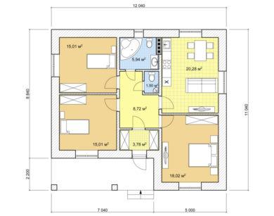 Проект одноэтажного дома, 88,26м2